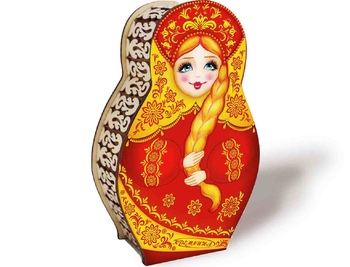 CHERRIES IN CHOCOLATE in A CARVED BOX  - MATRYOSHKA, 200G