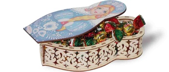 CHOCOLATE-COVERED CHERRIES IN A CARVED BOX  - MATRYOSHKA, 200G