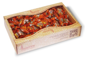 Chocolate prunes with almonds in tray-box with a looking window, 2,3 kg