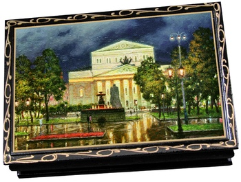 KREMLINA сhocolate prune with almonds in souvenir lacquer casket 300g